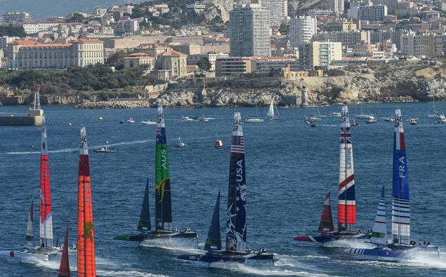 The fleet at the start of the final SailGP event of Season 1 in Marseille, France last year. Photo / Jon Buckle for SailGP