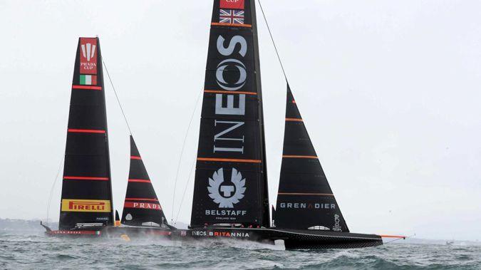 Ineos Team UK and Luna Rossa in action. Photo / Brett Phibbs