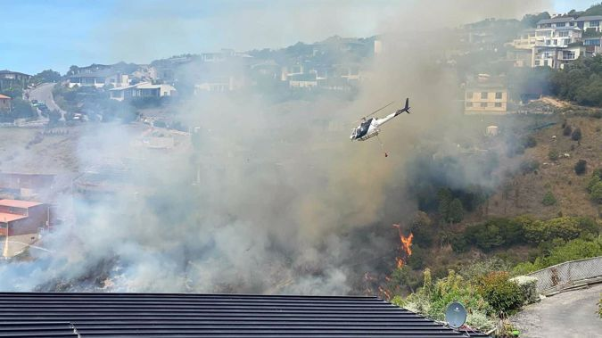 The fire in Redcliffs. Photo / George Heard
