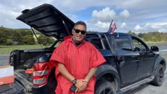 Former MP Hone Harawira organised the Far North Covid-19 checkpoint. Photo / Talei Anderson of RNZ