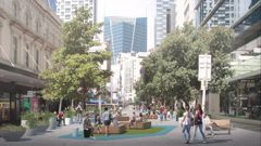 The pocket park that will occupy the Fort and Queen Street intersection at some point in 2021. Photo: LandLAB / Auckland Council