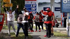 The gang members roared through the quiet North Canterbury town of Amberley on Friday. Photo / George Heard