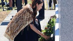 Jacinda Ardern launched the Aotearoa NZ histories curriculum while visiting a memorial to 12 British soldiers killed at Ruapekapeka in 1846. Photo / Peter de Graaf