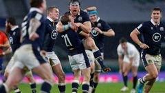 Scotland's Hamish Watson, centre, celebrates at the end of the Six Nations rugby union international between England and Scotland. (Photo / AP)