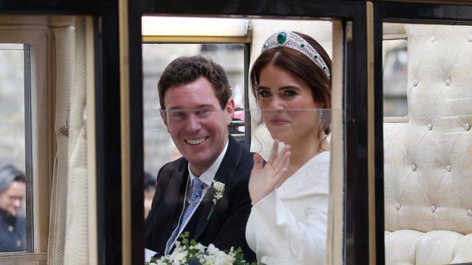 Princess Eugenie of York and Jack Brooksbank leave by carriage after their Wedding at at St. George's Chapel, Windsor Castle on October 12, 2018. Photo / Getty