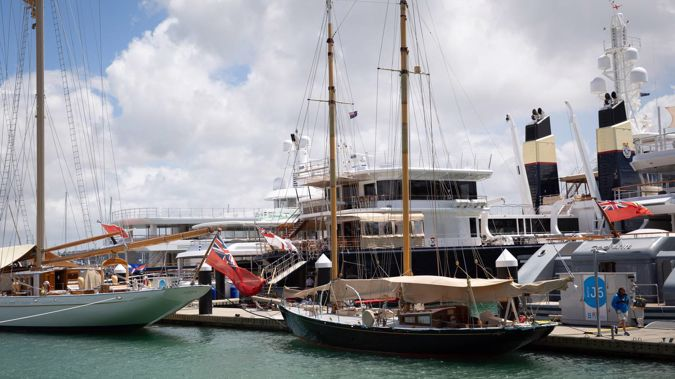 Jaime Botin's boat Adix (left) docked at Westhaven Marina. Ineos owner Jim Ratcliffe's blue hulled superyacht Sherpa (background) is also pictured. Photo / NZ Herald