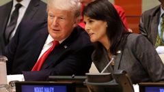 Former US ambassador to the United Nations, Nikki Haley, with Former President Donald Trump at the UN Headquarters in New York. Photo / AP
