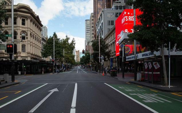 Queen Street in lockdown during the first lockdown. (Photo / NZ Herald)