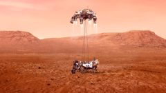This illustration provided by NASA shows the Perseverance rover, bottom, landing on Mars. Photo / AP
