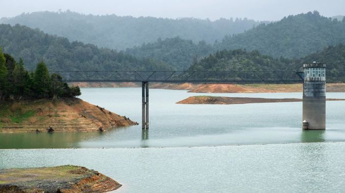 Water levels at the Mangatangi Dam in July last year in the Hūnua Ranges. Photo / File