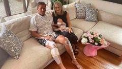 Ben Searancke recovering at home with his wife Jenny and daughter Sylvie Hariata. (Photo / NZ Herald)