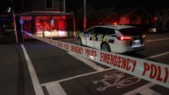Police cordon at Armagh St in Christchurch where a body was located. Photo / George Heard