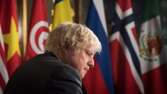 Britain's Prime Minister Boris Johnson chairs a session of the UN Security Council on climate and security at the Foreign, Commonwealth and Development Office in London, Tuesday, Feb. 23, 2021. (Photo / AP)