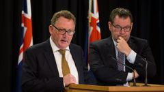 Reserve Bank Governor Adrian Orr, left, and Finance Minister Grant Robertson after signing the new Policy Targets Agreement at Parliament. March, 2018. (Photo / NZ Herald - file)