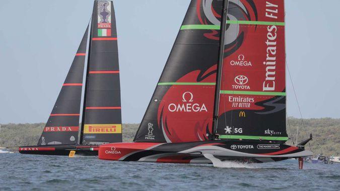 Luna Rossa and Team New Zealand in December 2020. (Photo / Michael Craig)