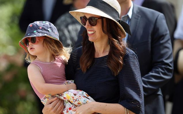 Jacinda Ardern with her daughter Neve. (Photo / NZ Herald)