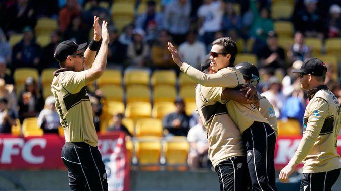 Mark Chapman celebrates his first international wicket after dismissing Glenn Maxwell. Photo / Photosport