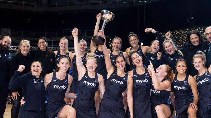 The Silver Ferns celebrate claiming the Constellation Cup for the first time in nine years. Photo / Photosport