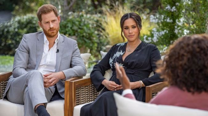Harry and Meghan, the Duchess of Sussex, talked to Oprah Winfrey. (Photo / AP)
