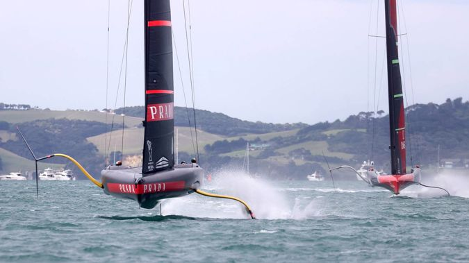 Luna Rossa on their way to victory in race 2 of the America's Cup Match on Wednesday. Photo / Getty Images