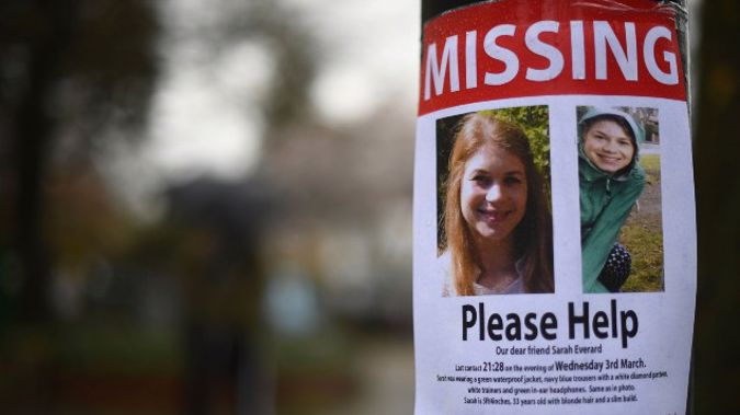 A missing poster for Sarah Evarard before his alleged killer was arrested. (Photo / AP)