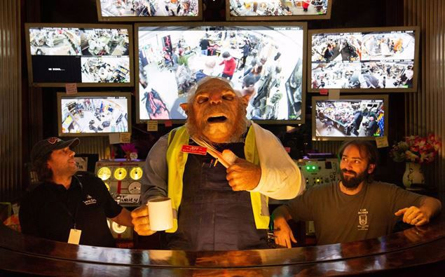 Rod Sheehy (left) and Zoilo Abad (right) are two of the creatives behind Jeff, the animatronic creature fronting Weta Workshop Unleashed. Photo / Slyvie Whinray