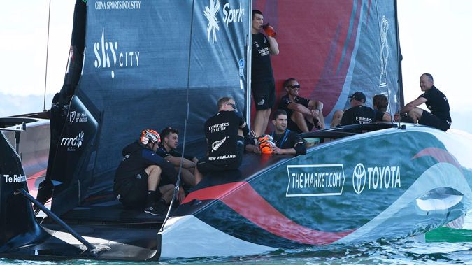 Team New Zealand relaxing while waiting for racing to resume. (Photo / Photosport)