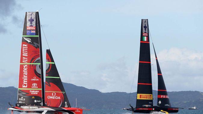 Luna Rossa Prada Pirelli Team leads Emirates Team New Zealand during America's Cup Race #8 between Emirates Team New Zealand and Luna Rossa. Photo / Getty Images.