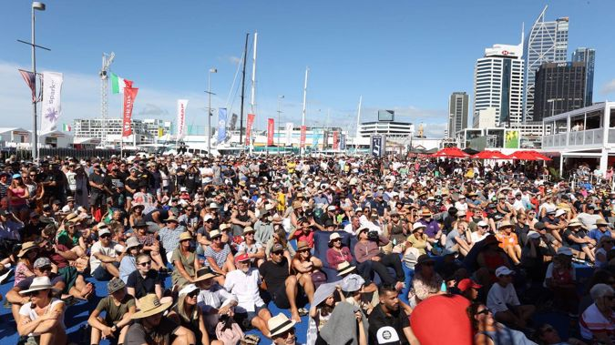Crowds flocked to Auckland's viaduct at the weekend to enjoy America's Cup racing in relaxed alert level settings. (Photo / Brett Phibbs)
