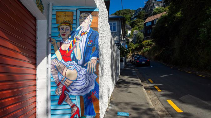 A mural tribute to a long-time brothel owner on property owned by Gareth and Jo Morgan has ruffled feathers in a swanky Wellington street. Photo / Hagen Hopkins