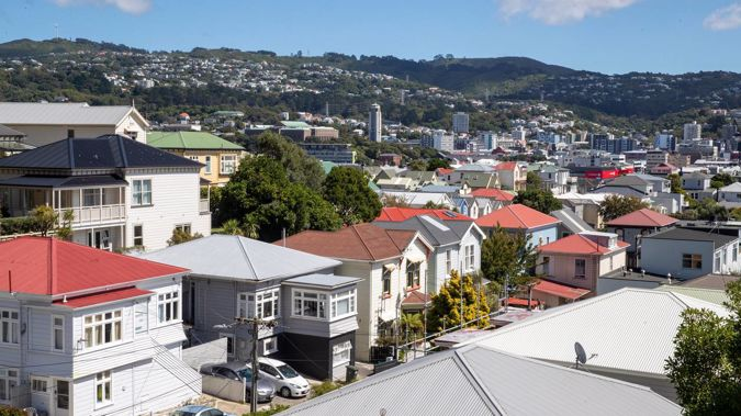 Housing in Mt Victoria, looking across Te Aro to Brooklyn, Wellington. Photo / Mark Mitchell