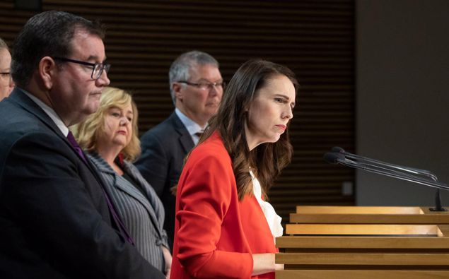 Prime Minister Jacinda Ardern and her colleagues announce a range of measures to counter housing speculation in the Beehive on Tuesday. Photo / Mark Mitchell