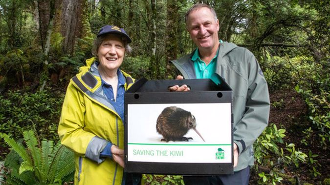 Sir John Key recently joined fellow former PM Helen Clark in releasing into the wild a young kiwi named Ardern, to help promote a new endowment fund the pair will serve as patrons. Photo / Supplied
