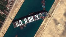 Watch: Incredible footage shows Suez Canal chaos - nearly 400 vessels stranded
