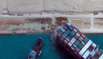 Container ship at centre of Suez Canal blockage partially freed