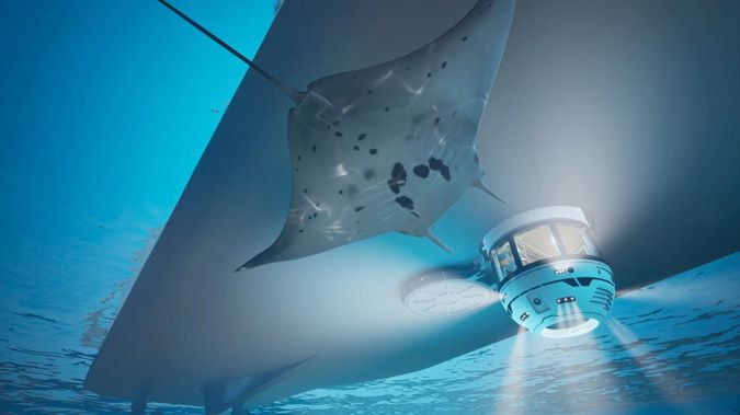 A rendering of Gresham Yacht Design's latest hydrosphere concept, which immerses yacht passengers underwater, is seen.