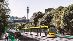 Artist's impression of a tram travelling along Auckland's Ian McKinnon Drive. Photo / Supplied