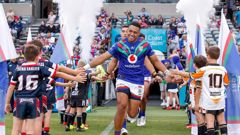 David Fusitu'a runs out onto Central Coast Stadium before an NRL game against the Newcastle Knights. Photosport
