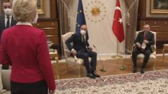 Screen grab from footage released by the Turkish presidency on April 6, 2021, shows Turkish President Recep Erdogan and EU Council President Charles Michel taking the two seats.