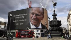 Prince Philip is projected onto a large screen at Piccadilly Circus in London. Photo / AP