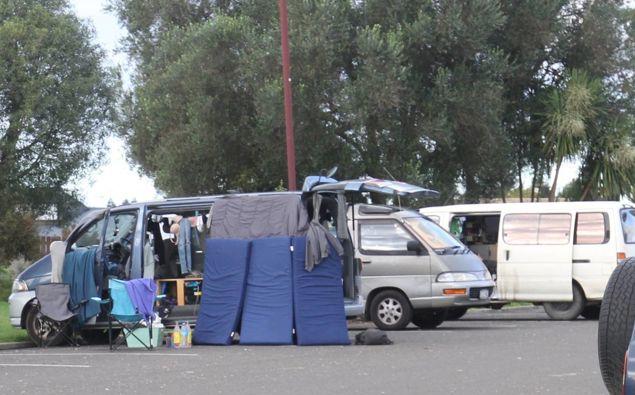 Freedom campers in Te Puke in May 2018. Photo / Stuart Whitaker