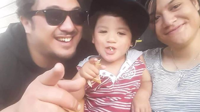 Deajay Parkinson-Batt, 2, pictured with his parents Dion Batt and Talia Parkinson, in Palmerston North. (Photo / Supplied)