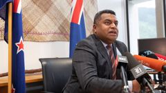 Justice Minister Kris Faafoi announcing the Government has introduced the Counter-Terrorism Legislation Bill. Photo / Mark Mitchell