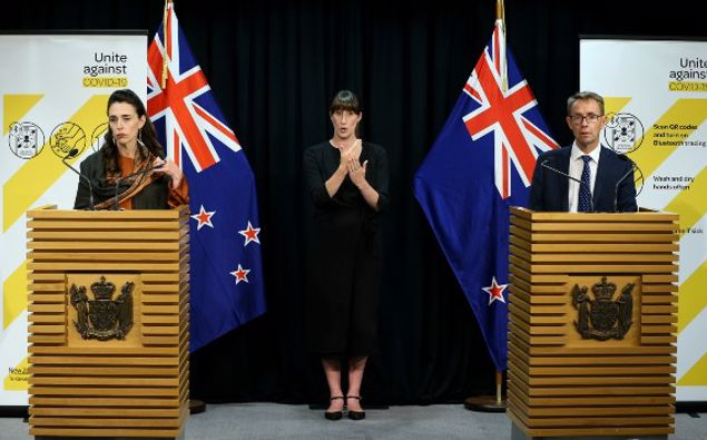 Jacinda Ardern and Ashley Bloomfield. (Photo / NZ Herald)