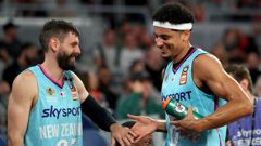 Jarrad Weeks (left) and Tai Webster of the Breakers celebrate during a game against the Adelaide 36ers. Photo / Getty Images