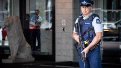 Armed police stand guard outside the Sofitel Hotel on Auckland's Viaduct responding to yesterday's firearms incident. Photo / Jason Oxenham