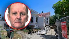 A picture of David Hart, who is the subject of a homicide investigation, with the Mt Eden house under which his remains were found entombed in concrete. NZ Herald Photo by Alex Burton 07 February 2020