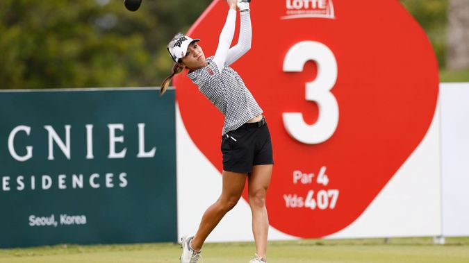 Lydia Ko, of New Zealand, drives off the third tee during the final round of the Lotte Championship. Photo / AP