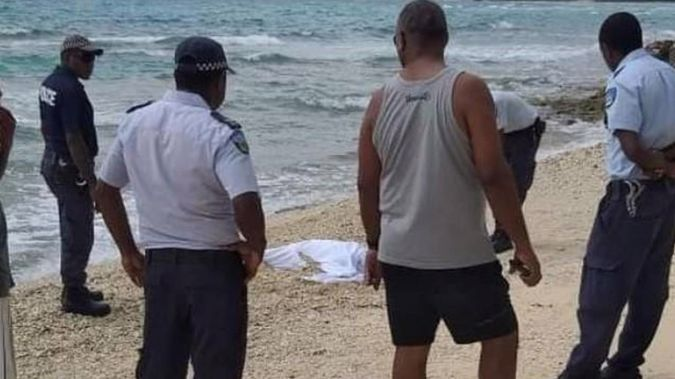 Vanuatu police on hand at the discovery of a dead body on the shores of Efate, 11 April, 2021. Photo / Supplied