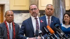 Health Minister Andrew Little, flanked by Associate Health Ministers, from left, Aupito William Sio, Peeni Henare and Dr Ayesha Verrall. (Photo / NZ Herald)